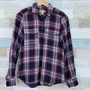 Flannel Plaid Utility Shirt Red Blue MNG Mango